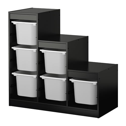 Trofast Storage Combo in Black With White Boxes