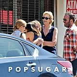 Jane Lynch met her Glee costars Dianna Agron and Jenna Ushkowitz for brunch in LA after Cory Monteith's passing.