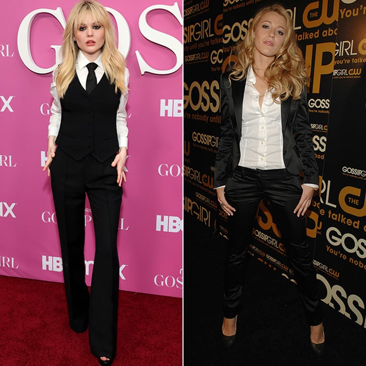 Emily Alyn Lind and Blake Lively Gossip Girl Premiere Suits