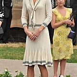 Kate selected a throw-on-and-go Alexander McQueen sailor-inspired number for a visit to the Province House.