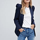 ASOS Tailored Pinstripe Blazer With Shark Shoulder