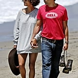 Halle Berry and Olivier Martinez checked out the view as they walked on the beach.