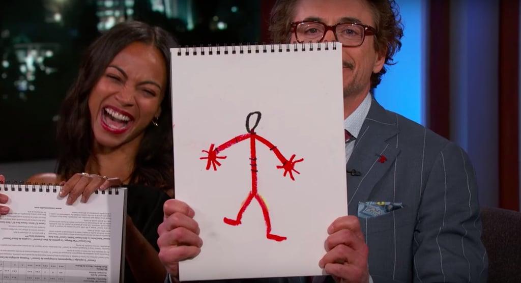 Robert Downey Jr S Drawing Of Iron Man Cast Of Avengers Infinity