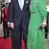 Queen Maxima of the Netherlands wearing a Theresia Vreugdenhil feathered dress.