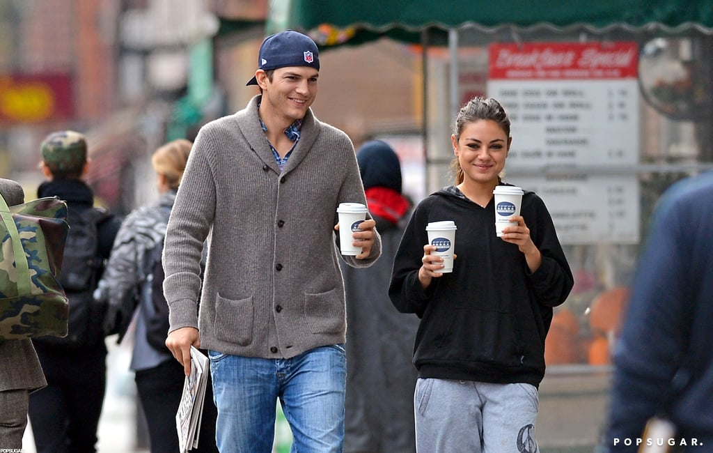 Ashton and His Sexy Girlfriend, Mila, Share a Smiley Coffee Date
