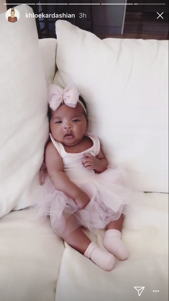 Khloé Kardashian and Tristan Thompson welcomed their first child together, daughter True Thompson, on April 12, and she's absolutely gorgeous! Even though she's only 2 months old, baby True clearly seems to be taking after famous mum, as she's already made both her Snapchat and Instagram debuts. We really hope this means we'll be seeing a lot more of the little one soon — maybe even a cute family photo with her cousins?       Related:                                                                                                           Everything There Is to Know About Khloé Kardashian's Daughter, True Thompson