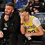 Photos of Romeo and David Beckham Twinning at the Lakers Game on Oct. 27
