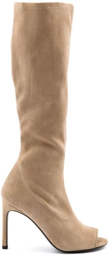 Stuart Weitzman peep toe knee high boots ($745)