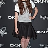 Hailee Steinfeld struck a pose in a sporty colorblocked tee and a feminine fit-and-flare skirt at the DKNY Birthday Bash in NYC.