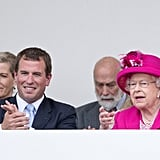 Peter Phillips celebrated the queen's 90th birthday with her.