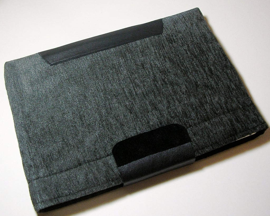 Soft Gray Laptop Sleeve With Leather Trim ($40)