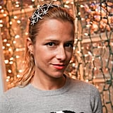 A sparkling star headband decorated Charlotte Ronson's half-updo at a RadioShack Pop-Up shop in New York.