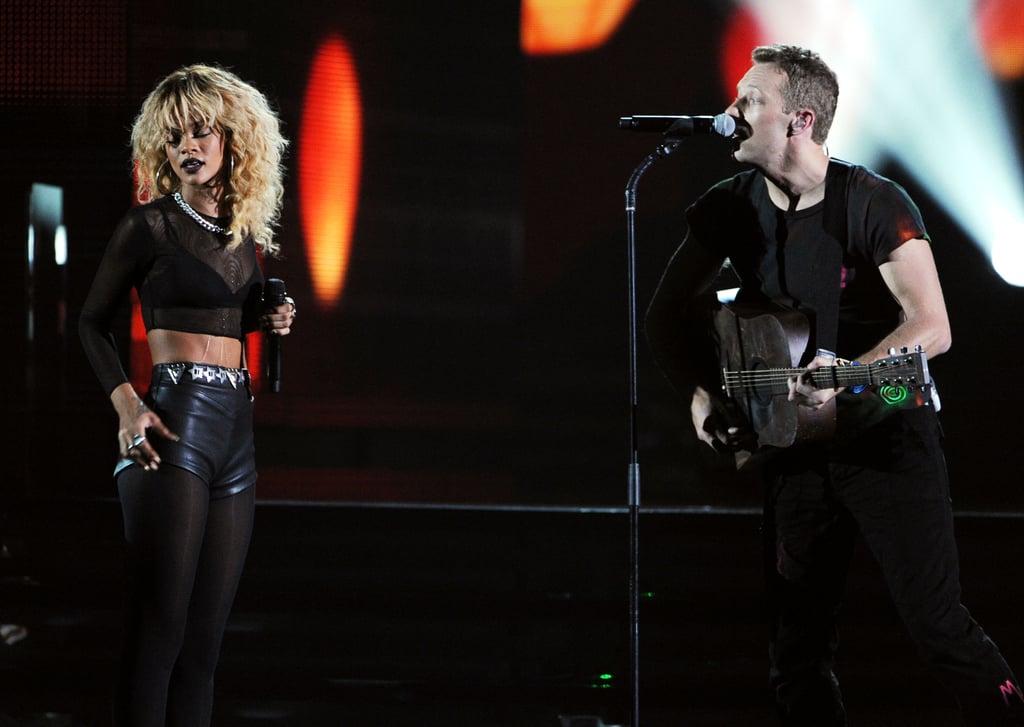 Chris Martin and Rihanna performed a duet.