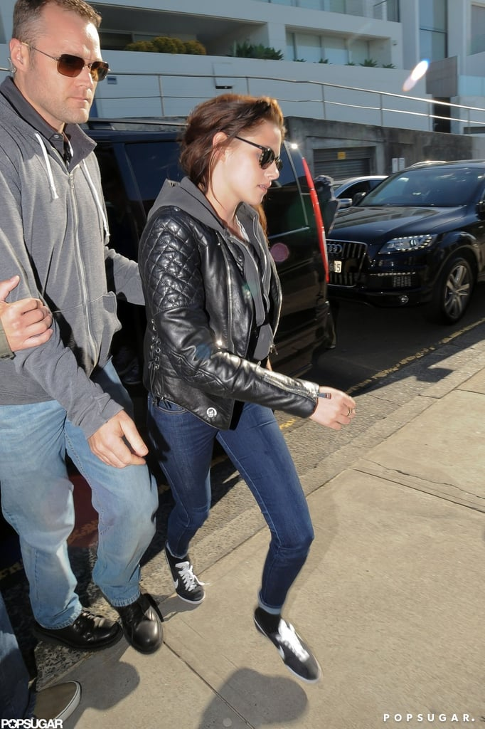 Kristen Stewart wore her favorite Balenciaga leather jacket this morning while out in Sydney. She arrived Down Under just yesterday, having taken off from LAX Saturday. Kristen's in Australia to promote Snow White and the Huntsman, which debuted at the No. 1 box office spot in the US when it opened back on June 1. It's still holding strong at domestic movie theaters and was fourth this past weekend. The trip to Australia was a solo one for Kristen, who didn't bring boyfriend Robert Pattinson along. However, she'll have the company of her SWATH costars. Native Australian Chris Hemsworth went home and got shirtless for a pool day yesterday. The gang will get together for their big premiere before moving on to Melbourne.