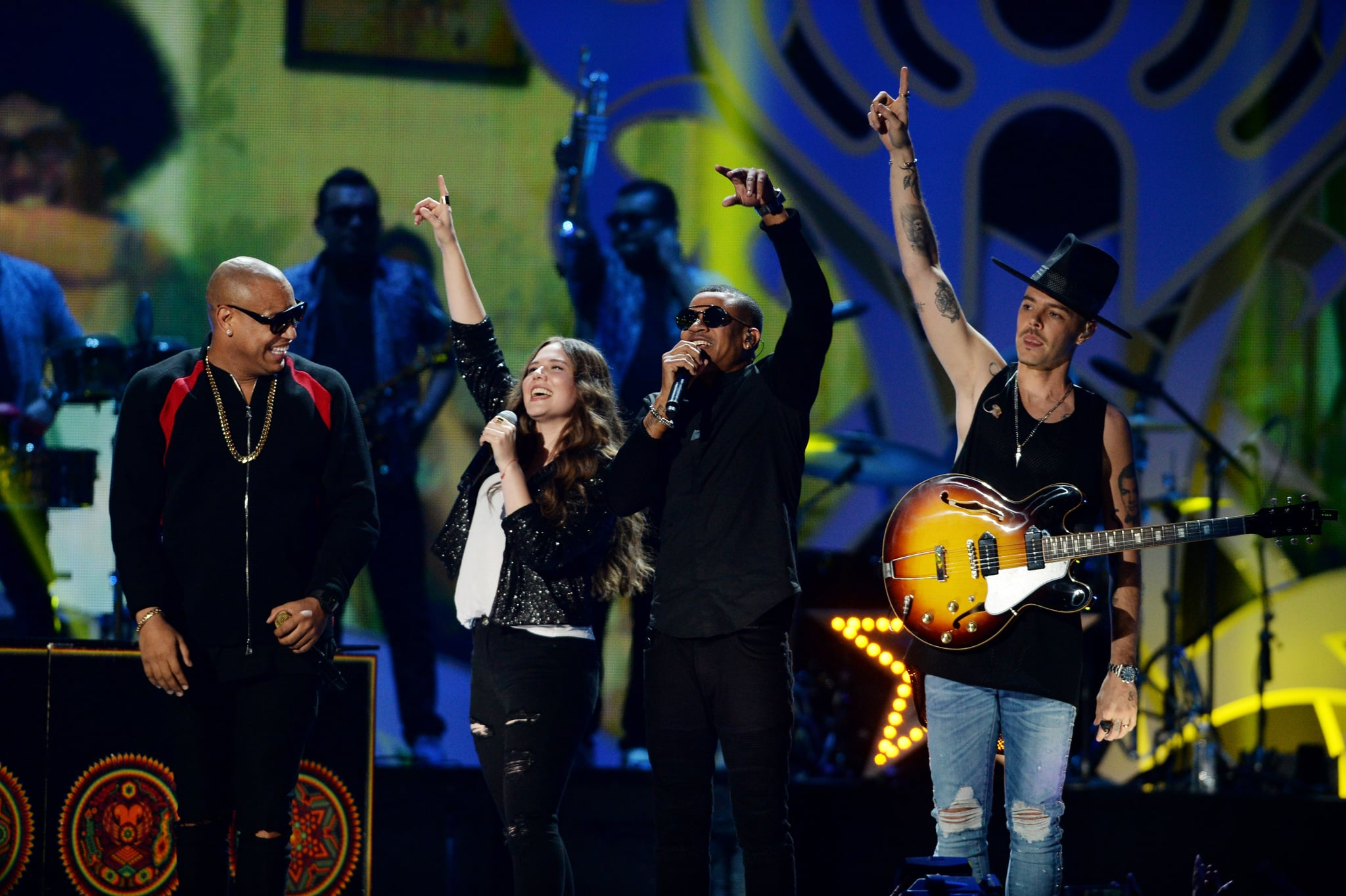 MIAMI, FL - NOVEMBER 04:  Alexander Delgado, Tirzah Joy Huerta, Randy Malcom and Jesse Eduardo Huerta perform onstage during the iHeartRadio Fiesta Latina: Celebrating Our Heroes at American Airlines Arena on November 4, 2017 in Miami, Florida.  (Photo by Jason Koerner/Getty Images for iHeart Radio)