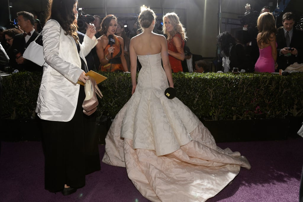 Jennifer Lawrence chatted with the press at the Governors Ball.