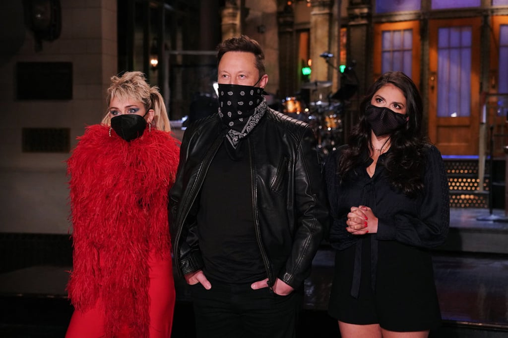 Miley Cyrus's Feathered Red Dress on SNL With Elon Musk