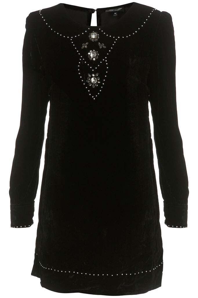 """I can't wait to wear velvet this holiday season. The velvet combined with crystal embellishments make this the perfect holiday dress.""  Topshop Crystal Velvet Tunic Dress ($190)"
