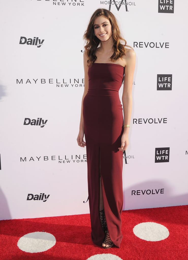 At the Daily Front Row's 3rd Annual Fashion Los Angeles Awards, Kaia elevated with a stunning strapless floor-length dress.
