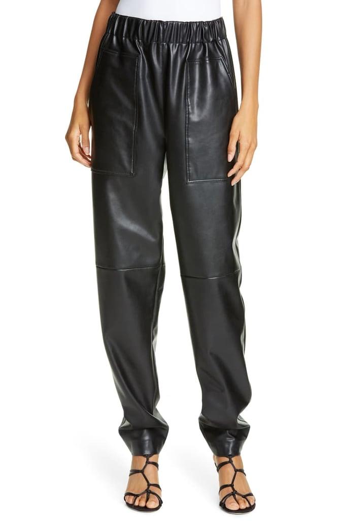Tibi Faux Leather Jogger Pants
