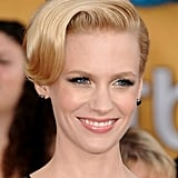 In an intricate lace gown, all January Jones needed was a pair of small, black studs.