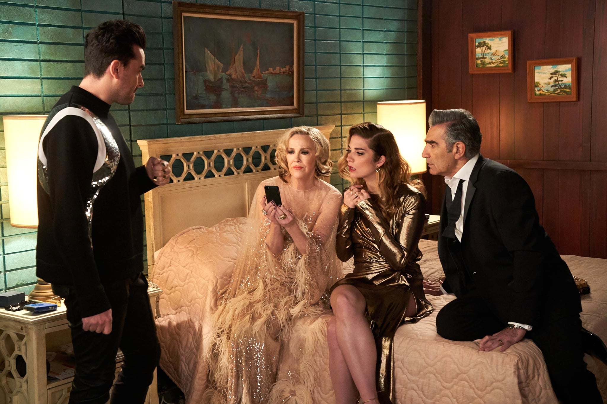 SCHITT'S CREEK, from left: Daniel Levy, Catherine O'Hara, Annie Murphy, Eugene Levy, 'The Premiere', (Season 6, ep. 605, aired in the US on Feb. 4, 2020). photo: CBC / courtesy Everett Collection
