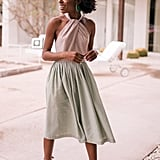 Gal Meets Glam Collection Alma Two-Color Gingham Halter Neck Dress