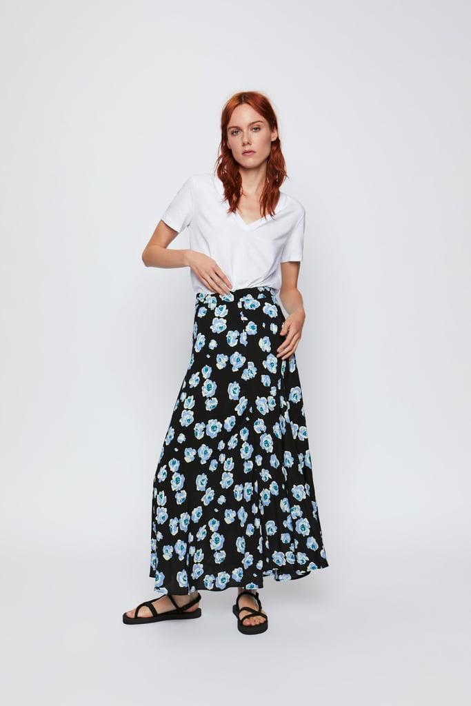3e00e33236 Zara Floral Midi Skirt | Zara Sale Summer 2019 | POPSUGAR Fashion ...