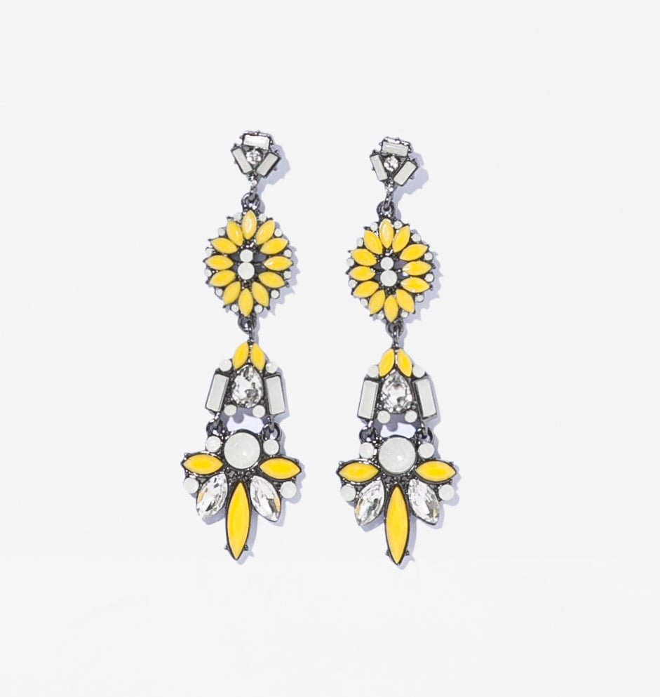 Zara yellow and white floral drop earrings ($17)