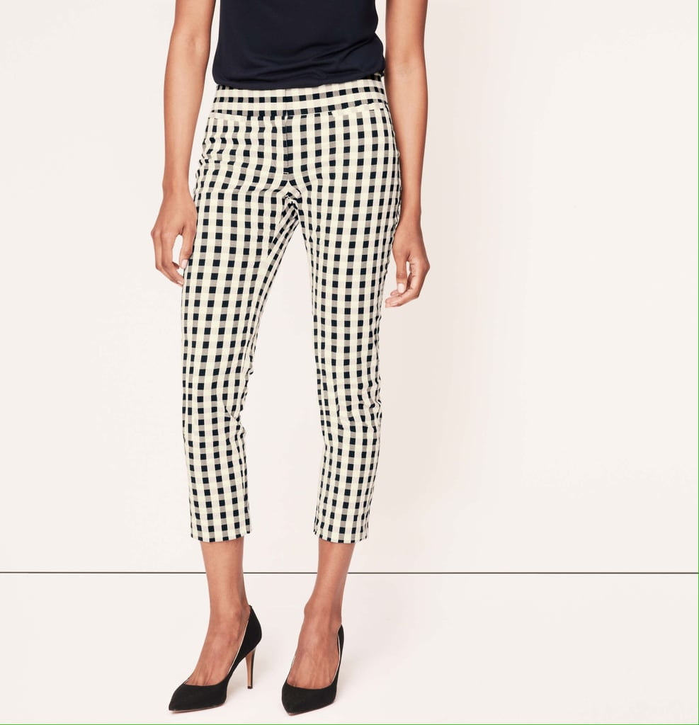 LOFT Gingham-Print Pants
