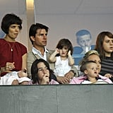Suri sat with parents Katie and Tom Cruise as well as sister Isabella Kidman-Cruise and family friend Cruz Beckham during a May 2008 soccer match in Carson, CA.