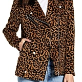 Avec Les Filles Leopard Print Wool Jacket With Faux Shearling Collar