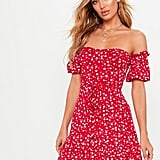 Pretty Little Thing Red Ditsy Print Bardot Frill Hem Skater Dress