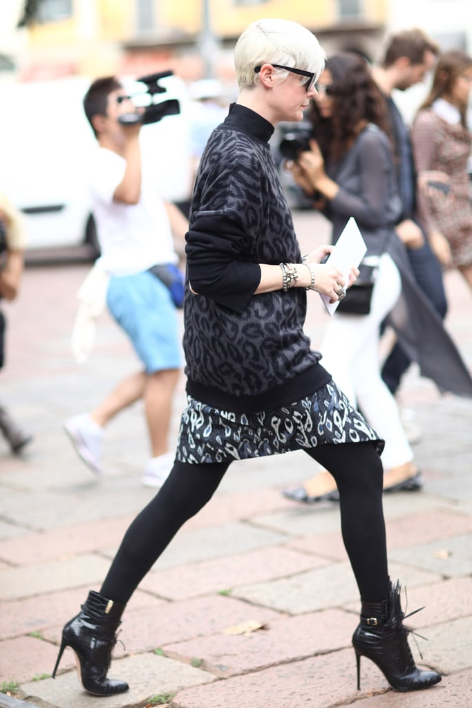 This print mixing was tempered with opaque black tights and coordinating booties for a chic finish. Source: Greg Kessler