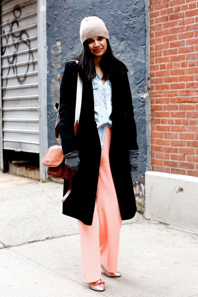Pretty hues contrasted staple outerwear for a softer effect.