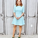 She wore a pastel blue minidress with green Jimmy Choo heels to AOL's BUILD Speaker Series in 2015.