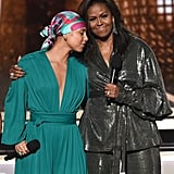 Alicia Keys and Michelle Obama at the Grammys