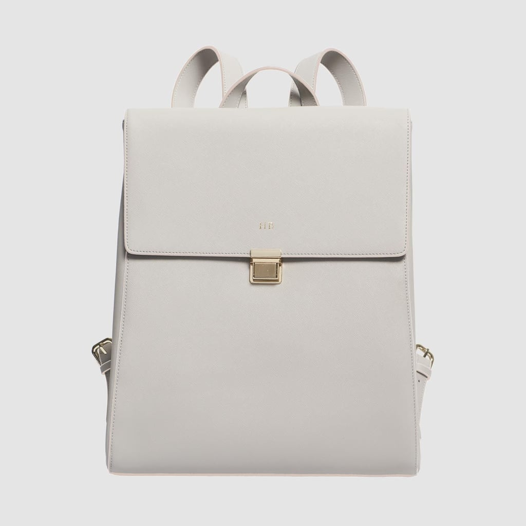 The Daily Edited Mist Grey Large Structured Backpack with Pale Pink Edge, $349.95