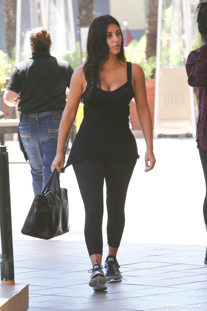 Kim Kardashian donned her skintight fitness gear for a Pilates class in LA on Thursday.