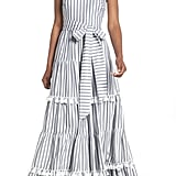 Eliza J Tiered Tassel-Fringe Cotton Maxi Dress