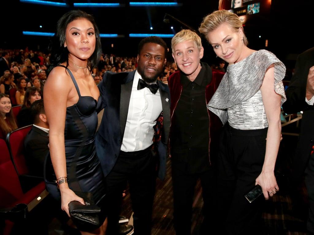 Pictured: Ellen DeGeneres, Portia de Rossi, Kevin Hart, and Eniko Parrish