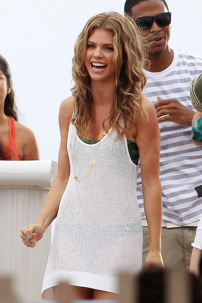 AnnaLynne McCord wore a sheer bikini cover-up.