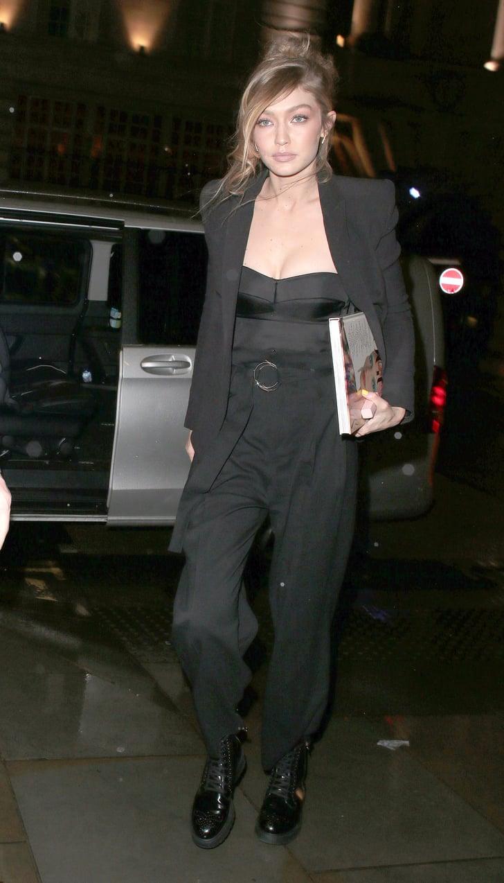 Gigi Hadid's Black Combat Boots With