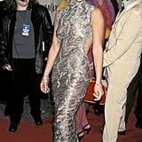 Baring some skin in a sexy, textured gown at the 1998 VH1 Fashion Awards.