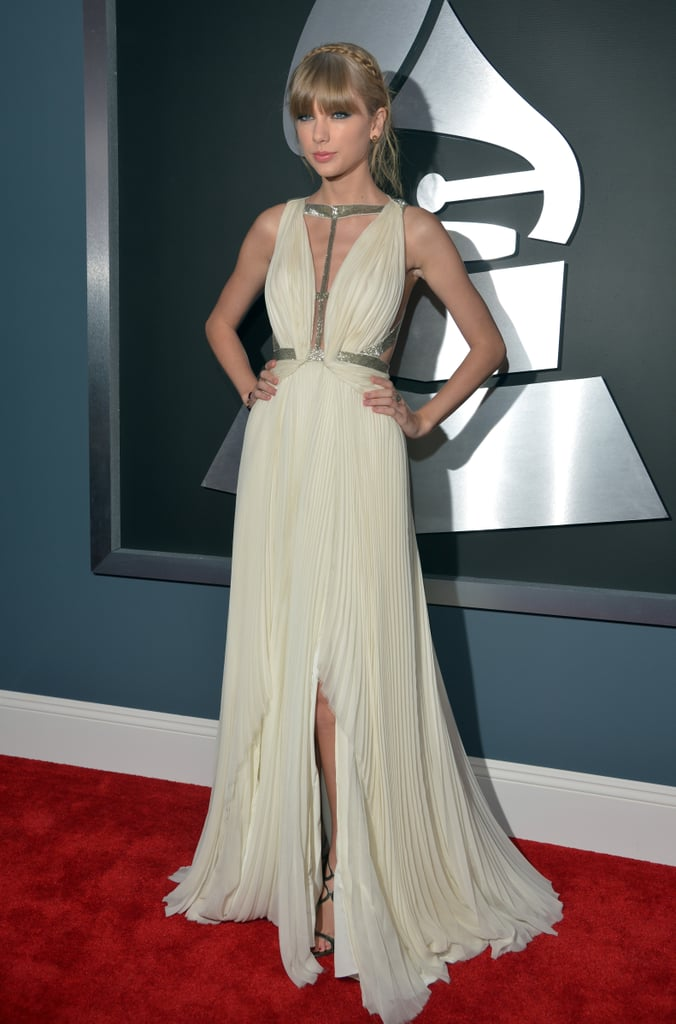 Taylor Swift wore a white J. Mendel gown.