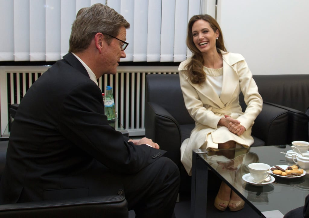 Angelina Jolie had a meeting with German Foreign Minister Guido Westerwelle in Berlin today. She and Guido sat down for tea to discuss Angelina's role with the UNHCR. Angelina made time for the important chat before getting ready to hit the red carpet at the Berlin Film Festival tomorrow. Her In the Land of Blood and Honey is in the running for best feature along with Diane Kruger's Farewell, My Queen and 16 others. Jake Gyllenhaal is one of the festival's judges, and he helped kick things off at yesterday's opening ceremony. The overseas trip hasn't been all about work for Angelina, since she took Maddox, Pax, and Shiloh to Legoland. The Jolie-Pitts will soon return to the US, since Angelina is set to be a presenter at the Oscars on Feb. 26.