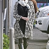Gwen Stefani wore a printed coat in LA.