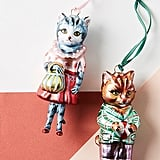 Well-Dressed Glass Cat Ornament