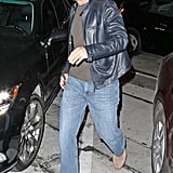 George Clooney made his way to his car after dinner.