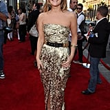 Drew shined in a Catherine Malandrino maxi gown at the premiere of her new flick Going the Distance. Loved the addition of the belt.